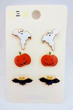 Halloween Earrings 3 Pairs Ghosts Pumpkins Bats Zen Studs