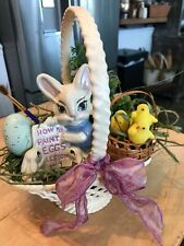 Vintage Easter Bunny Painting Eggs , Basket Handmade Decor