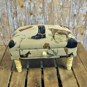 Footstool with Storage Drawer Equestrian Tapestry Fabric Footrest Home Decor