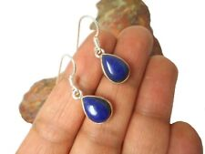 Teardrop Blue  LAPIS  LAZULI  Gemstone  Sterling  Silver  925  EARRINGS -  Boxed