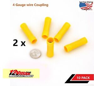 10PCS 4 GAUGE INSULATED CRIMP BUTT WIRE COUPLING CONNECTOR POWER / GROUND
