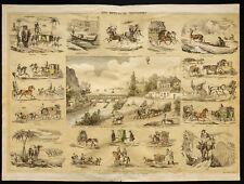 Rare 1853ca - Les moyens de transport - Planche encyclopédique, scolaire