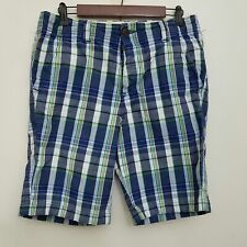 Abercrombie Fitch Mens Button Fly Madras Shorts 31 Blue Plaid Flat Front Cotton