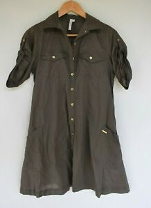Sea Folly khaki cotton shirt dress.  Size XS.  Ex cond