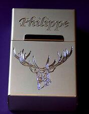 boite a cigarette en aluminium anodisé gravée personnalisée cerf chasse