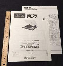 Pioneer PL-7 Turntable Original Owners Manual Operating Instructions