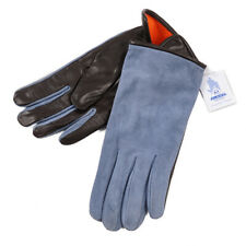 New $380 SANNINO Blue Suede and Leather Gloves with Cashmere Lining 9 (L)