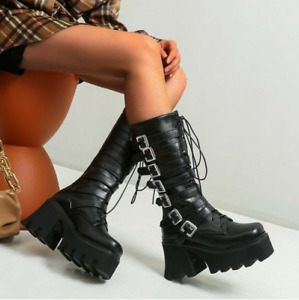 Punk Womens Platform Chunky Heels Knee High Boots Buckle Boots Gothic Shoes Size