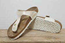 Women's Pink Gizeh Birkenstock Shiny Snake Pattern Narrow Fit Sandals UK Size 7