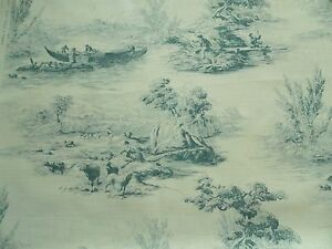 Zoffany Curtain Fabric THE BOATMEN 3.55m Teal - Traditional Toile Design - Linen