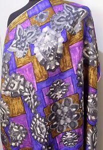 *Vintage 75.5cm Square Brown, Purple & Grey Silk Scarf