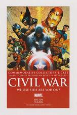 CIVIL WAR: COMMEMORATIVE COLLECTORS PROMO TICKET with MICHAEL TURNER ART*
