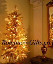Satin Gold Classic and unusual Christmas Tree 4 Ft Pre-lit with75 Clear lights