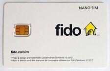 Fido Nano LTE Sim Card 3G 4G - NEW Unactive Prepaid Postpaid