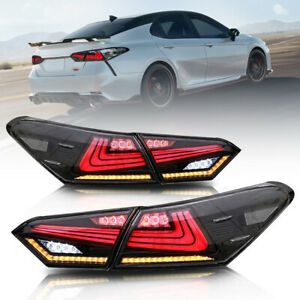 For 2018 2019 2020 Toyota Camry Tail Lights Smoke LED 4pcs Rear Lamps Assembly