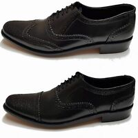 Shumaxx Men's Brogues shoes Genuine Leather  Classic Black Formal Dress Lace Up