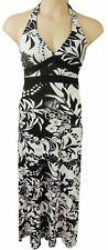 BLACK AND WHITE PRINT LONG HALTERNECK DRESS, JANE NORMAN SIZE UK 12,  LD327