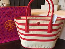 TORY BURCH STRIPE STRAW LARGE TOTE NATURAL/MASAAI RED NWT $350 & GIFT BAG MINT!