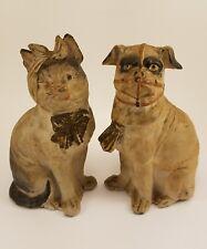 Antique Victorian Porcelain Cat and Muzzled Dog Pug Figurine Pair Bisque German
