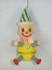 Vtg Flocked Clown Christmas Ornament Striped Hat & Scarf