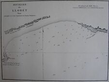 MOUILLAGE DE LLORET ,1862, GAUTTIER, PLANS PORTS RADES MER MEDITERRANEE