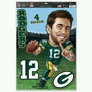 AARON RODGERS GREEN BAY PACKERS  CARICATURE MULTI-USE DECALS 11x17 LIKE FATHEAD