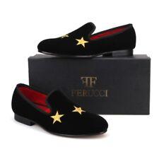 Handmade FERUCCI Men Black Velvet Slippers loafers with  Embroidered Gold Stars
