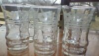Etched Juice glases elegant flat bottom 6 6 oz juice glasses