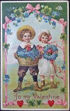 Vtg To My Valentine Postcard~Country Boy & Girl making Flower Wreaths~BW 341