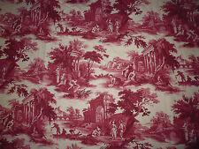 tissu textile ameublement imprimé toile de jouy rouge scene de vie ancienne B