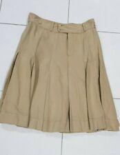 RALPH LAUREN Tan Pleated Heavy Cotton Skirt - Sz 14 - EUC