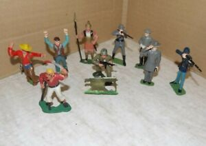 1960's Marx 60mm Warriors of the World figure lot of 9 with one military flat