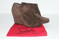 Christian Louboutin Brown Suede Leather wedge ankle boots booties  38.5 uk 5.5