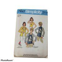 """Vintage UNCUT Simplicity Pattern #7447  Size 12  Bust 34""""  Miss 4 Tops"""