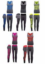 WOMENS LADIES WORK OUT GYM TWO PIECE TOP BOTTOM LEGGINGS CO ORDINATE SUIT SET