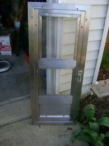 "Vintage Salesman Sample Stainless Steel Glass Screen Door Miniature 17"" x 42"""