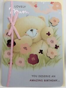 Beautiful Hallmark Forever Friends Lovely Mum Birthday Card with raised Flowers