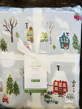 POTTERY BARN Winter Village Queen Size Organic Cotton Sheet Set Christmas