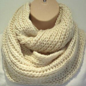 Superb Chunky Knit Oat Colour Circle Loop Infinity Scarf Snood - Christmas Gift