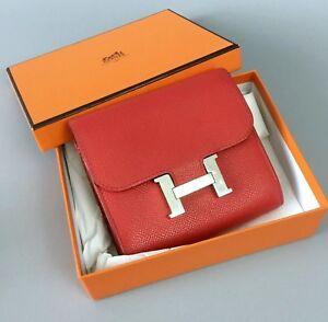 RARE Hermes Rose Epsom Calfskin Leather CONSTANCE H Buckle Wallet Purse Clutch