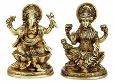 "Brass Laxmi Ganesha Statue Lakshmi Ganesh Idol Religious Figurine Gift Decor 5"""
