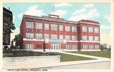 Concordia Kansas Junior Hight School Street View Antique Postcard K14279
