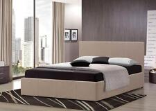 5FT King Size Wheat Fabric Ottoman Bed + Memory Foam Mattress