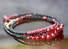 Natural Black Spinel and Ruby Wrap Bracelet Long Necklace Solid 14K Yellow Gold