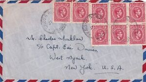 JAMAICA - KING GEORGE V1 - red 1d - 1940 8 USED STAMPS ON COVER