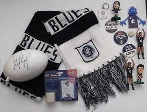 Carlton Blues AFL Memorabilia Signed Crown Footy - Badges - Scarf & Toy Figures