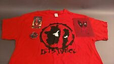 """Deadpool Lot. """"Let's Dance"""" Red XL. T-Shirt. Tee. Keychain. Button. Graphic"""
