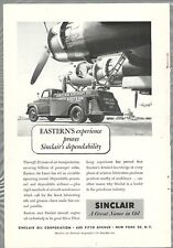 1951 SINCLAIR OIL advertisement, Eastern Air Lines, oil tanker truck