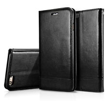 u) Black Leather Wallet Case Magnetic Flip Cover Stand For iPhone 7 Plus
