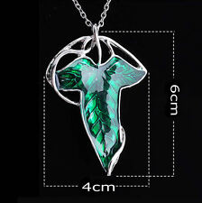 Vintage Lord of The Rings Green Leaf Elven Pin Brooch Pendant Chain Necklace New